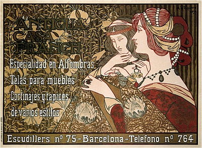 Pintura De Riquer composición con Alas Ninfa amanecer Cuadrado Enmarcado Arte de Pared 16X16