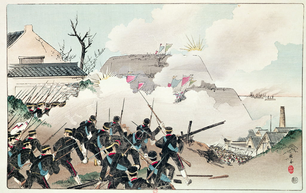 La batalla de Port Arthur, c.1894 (grabado en color) de Chinese School