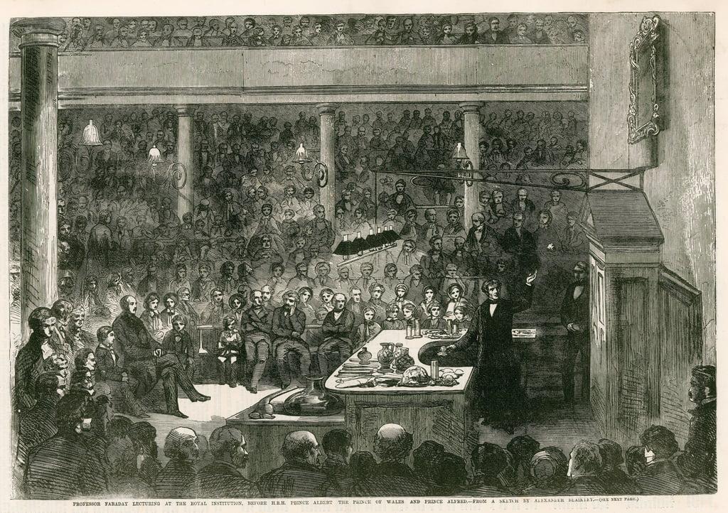 Profesor Faraday dando una conferencia en la Insti...