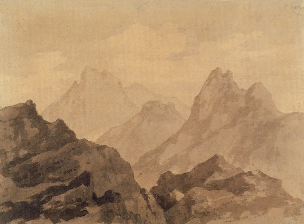 Mountain Tops (A Mountain Study), c.1780 (grafito con papel marrón y gris sobre papel) de Alexander Cozens