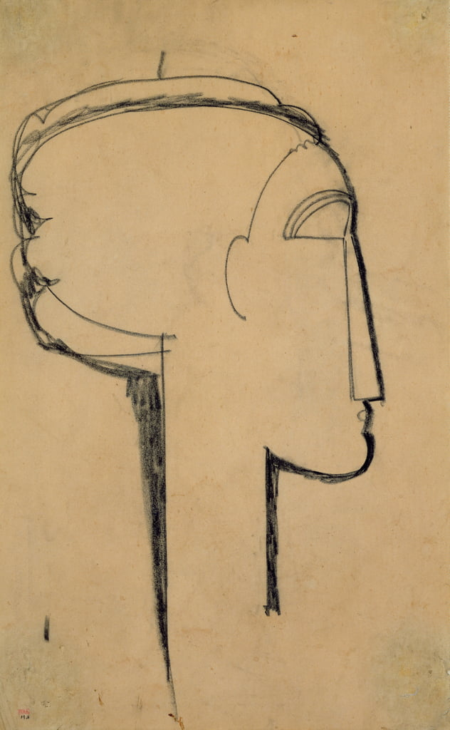 Head in Profile (carbón en papel) de Amedeo Modigliani