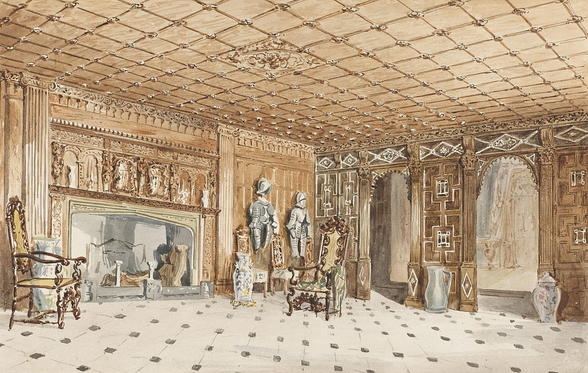 The Entrance Hall, East Sutton Place, Kent de Charles James Richardson