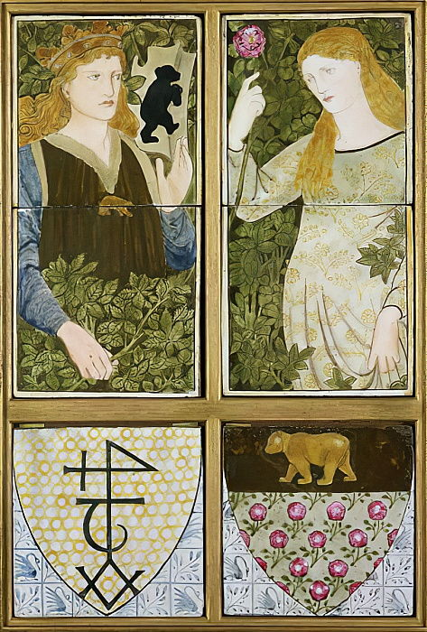 King Arthur y Queen Guinevere, Six Tile Panel fabricado por Morris, Marshall, Faulkner y Co. (cerámica) de Edward Burne Jones