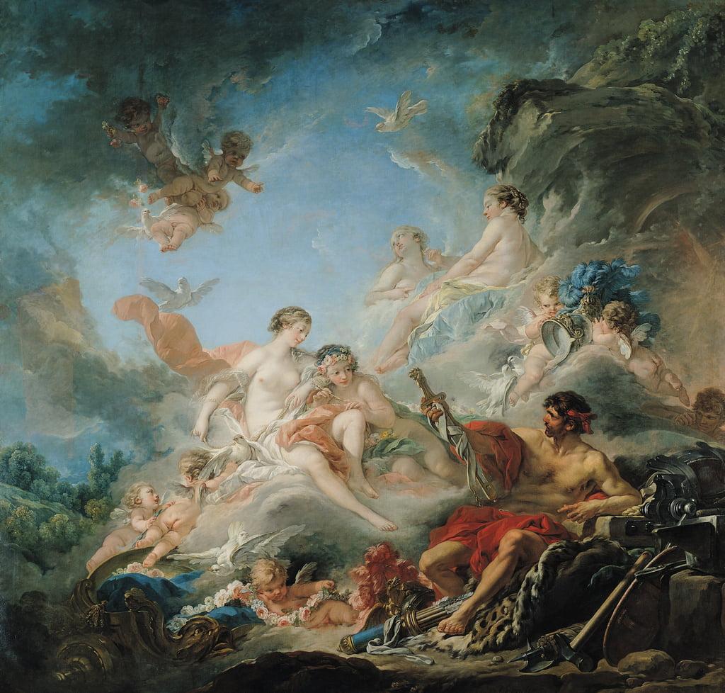 La fragua de Vulcano, o Vulcano presentando armas para Eneas a Venus, tapiz de dibujos animados, 1757 de François Boucher