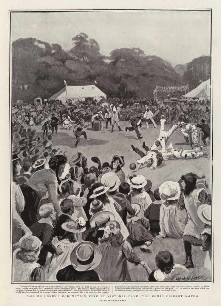 The Children&39;s Coronation Fete en Victoria Park, el Comic Cricket Match de George Soper