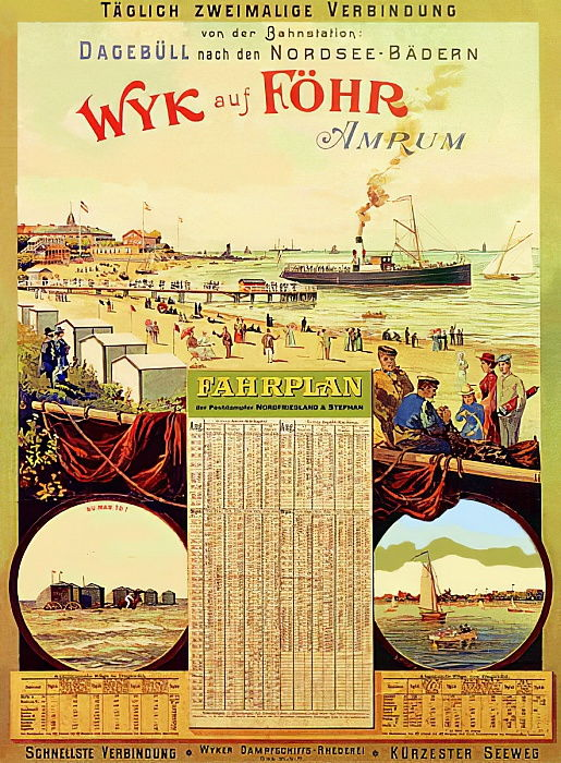 Wyk auf Fohr, cartel publicitario de Wyk Steam Shipping Company, 1897 de German School
