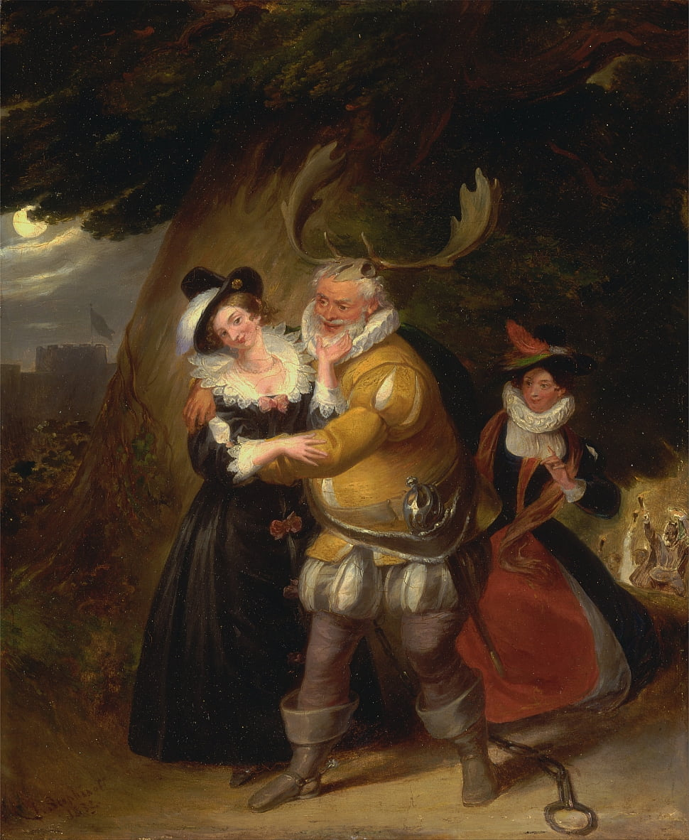 Falstaff en Hernes Oak, de The Merry Wives of Windsor, Acto V, Escena v de James Stephanoff