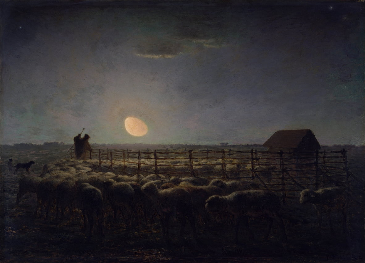 The Sheepfold, Moonlight de Jean Francois Millet