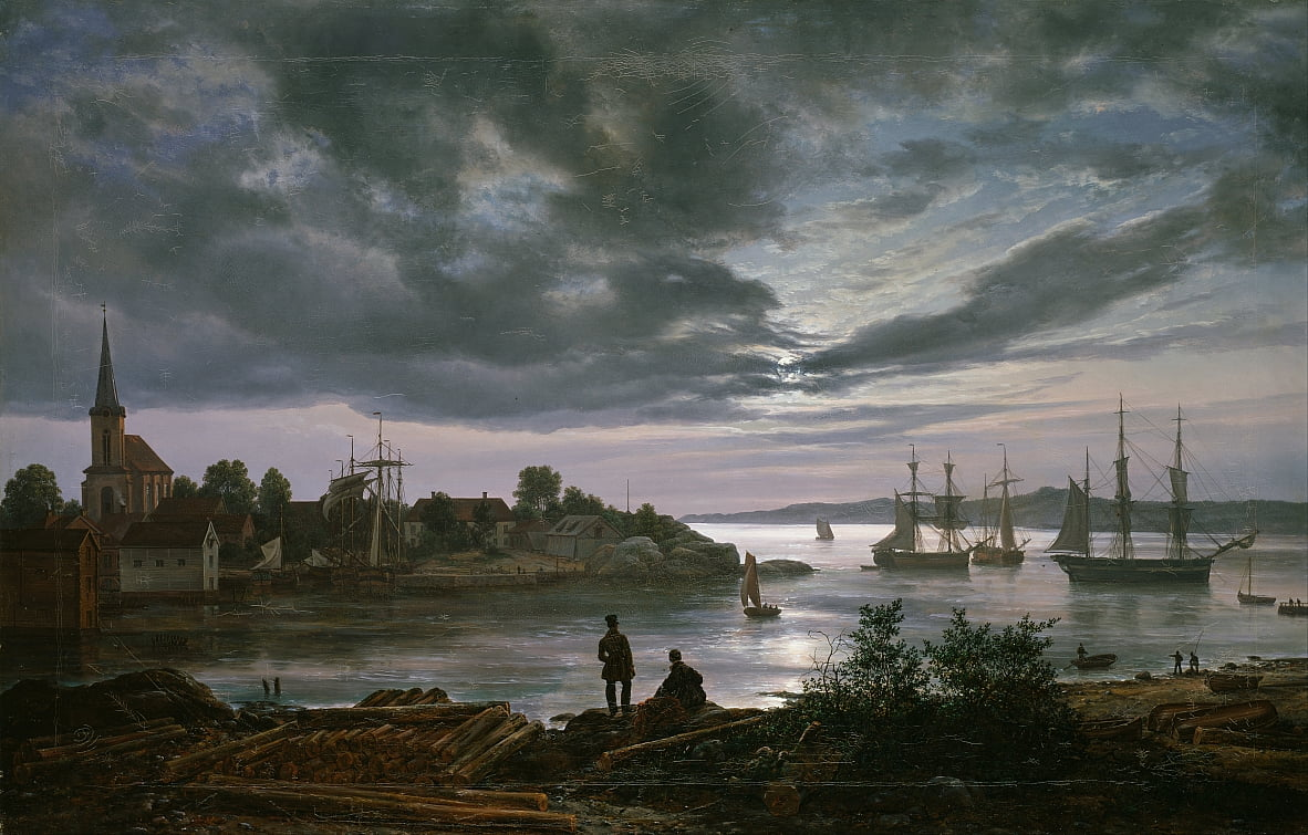 Larvik City Moonlight de Johan Christian Dahl