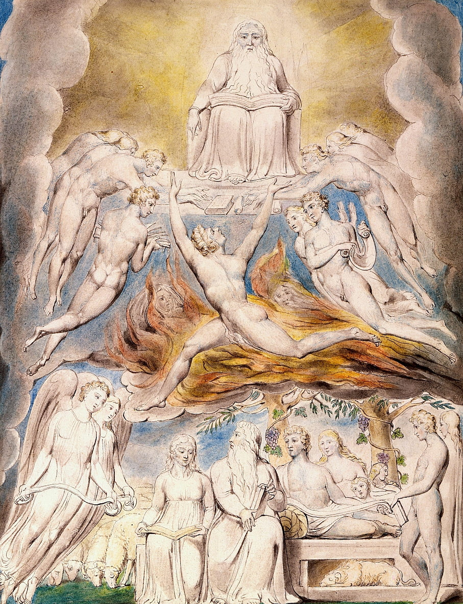 Satanás ante el trono de Dios de William Blake