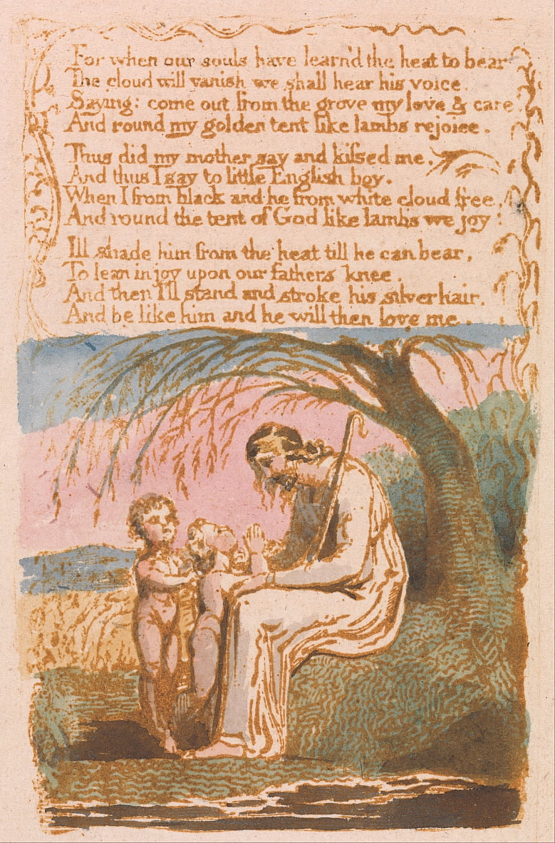 Canciones de inocencia, lámina 30, The Little Black Boy (Bentley 10) de William Blake
