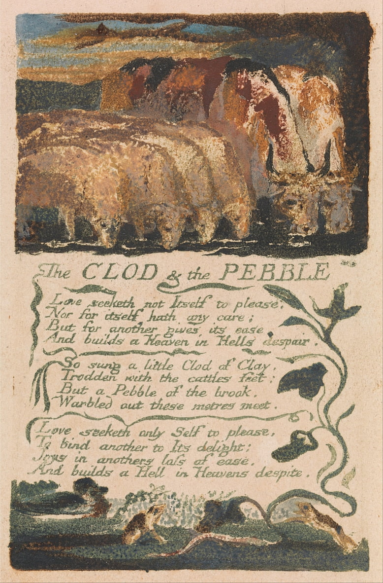 Canciones de inocencia y de experiencia, lámina 36, The Clod und the Pebble (Bentley 32) de William Blake
