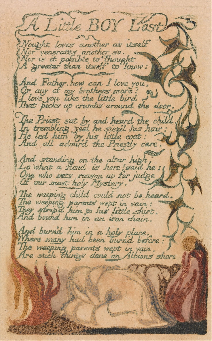Canciones de inocencia y de experiencia, lámina 43, A Little Boy Lost (Bentley 50) de William Blake