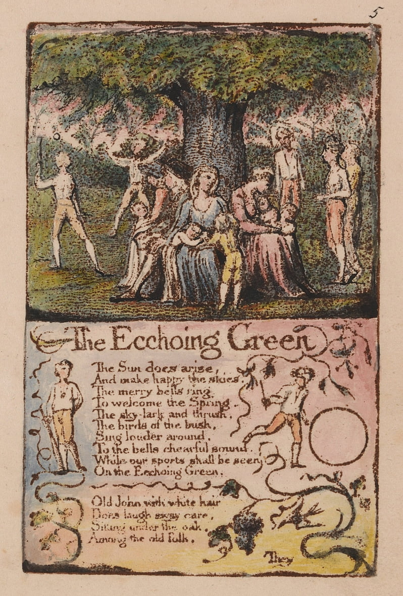 Canciones de inocencia y de experiencia, lámina 5, The Ecchoing Green (Bentley 6) de William Blake