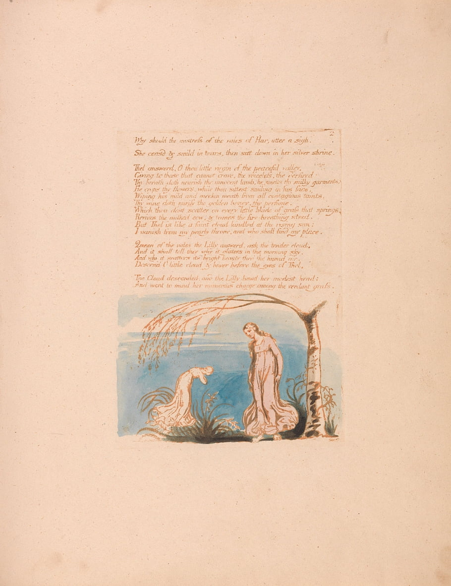 The Book of Thel, lámina 4, ¿por qué debería la amante . . . de William Blake