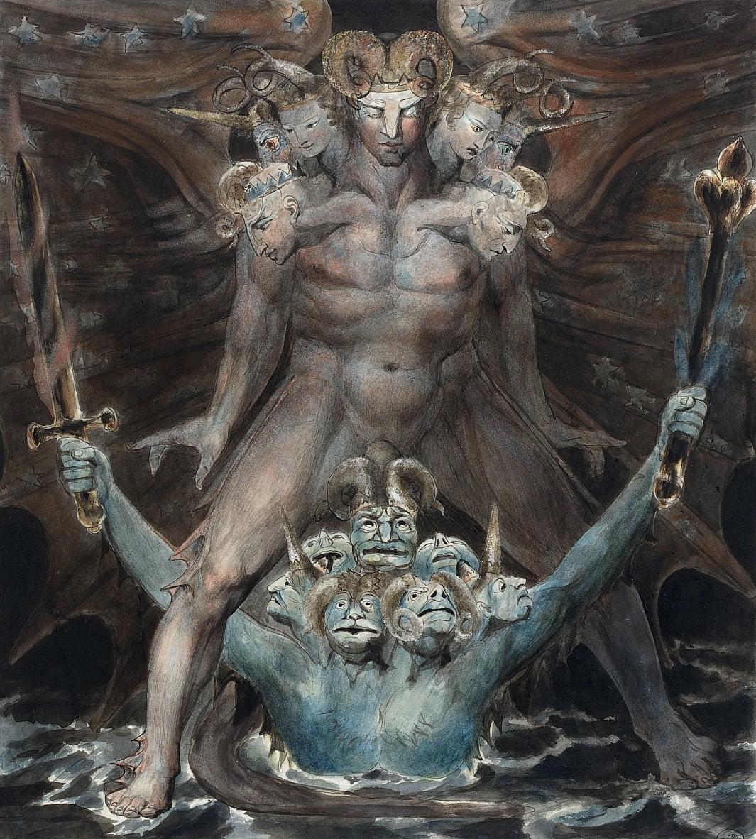 El gran dragón rojo y la bestia del mar de William Blake