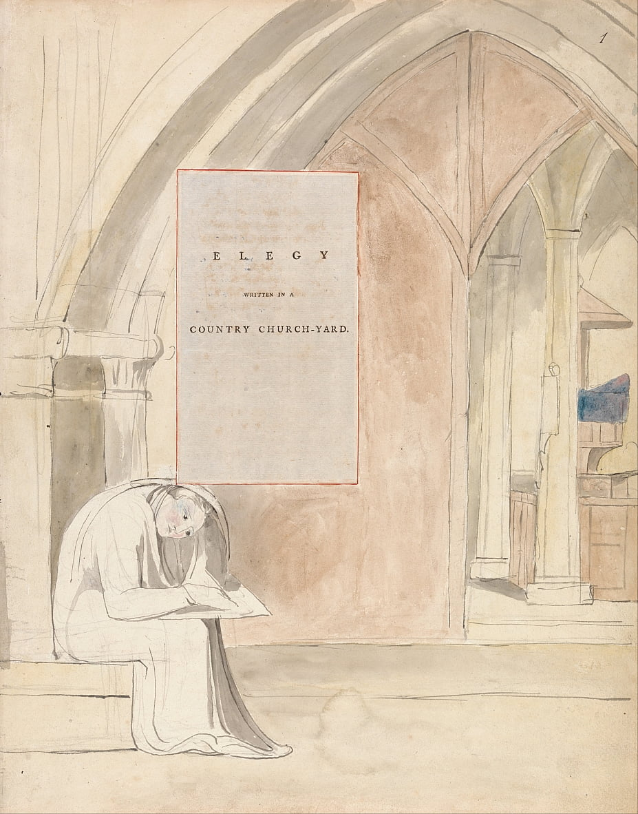Los poemas de Thomas Gray, Diseño 105, Elegía escrita en un Country Church-Yard. de William Blake
