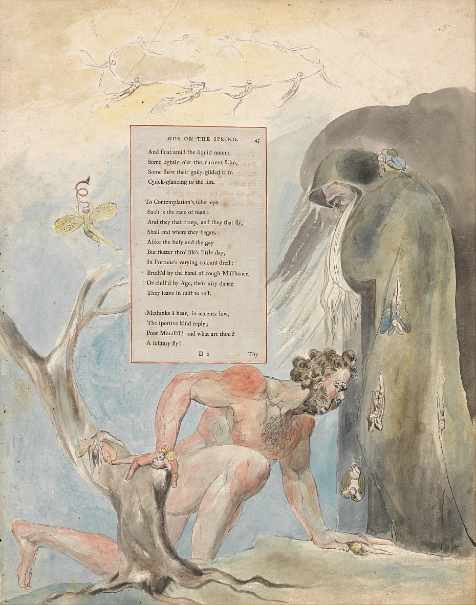 Los poemas de Thomas Gray, Diseño 5, Oda en la primavera. de William Blake