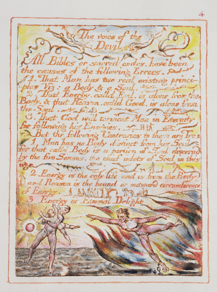 The Voice of the Devil, ilustración y texto de 'The Marriage of Heaven and Hell', c.1790-3 (grabado en relieve terminado en pluma y wc) de William Blake