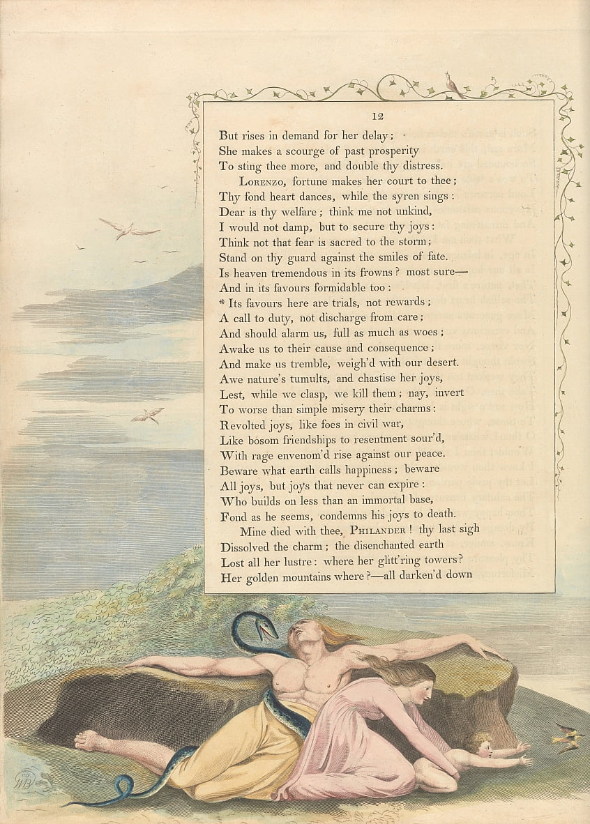 Youngs Night Thoughts, página 12, Sus favores aquí son pruebas, no recompensas de William Blake