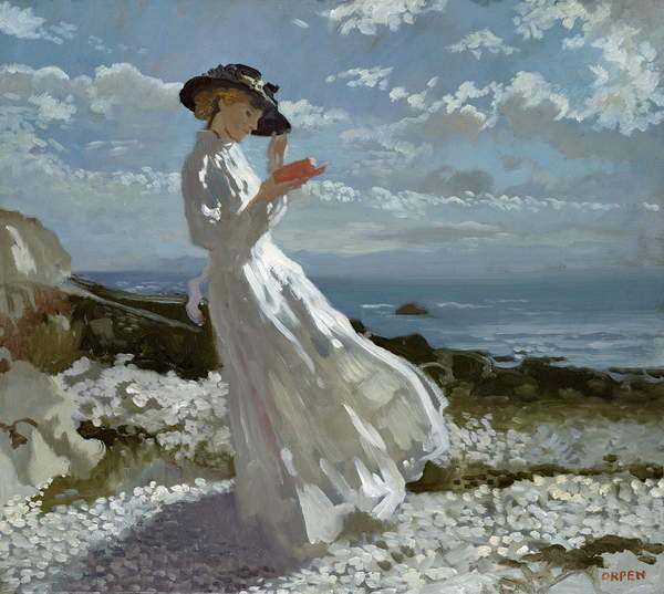 Gracia leyendo en Howth Bay de William Orpen