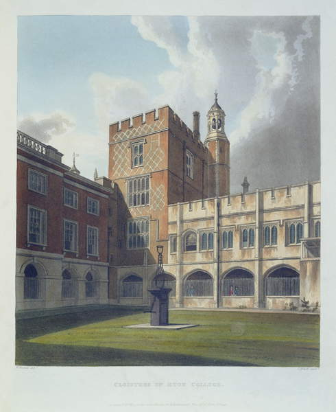 Claustros del Eton College, de History of Eton College, parte de History of the Colleges, grabado por J. Bluck (fl.1791-1831) pub. por R. Ackermann, 1816 (aguatinta) de William after Westall